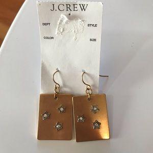 New J Crew brass rectangles pave star earrings